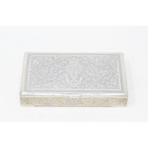 172 - A Persian style silver coloured metal box, decorated flowers and foliage, 14 cm wide, other assorted...