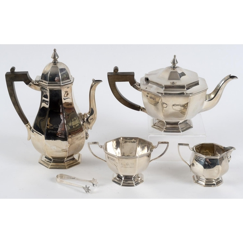 173 - An octagonal silver four piece tea set, initialled and dated, London 1898, and a pair of sugar tongs...