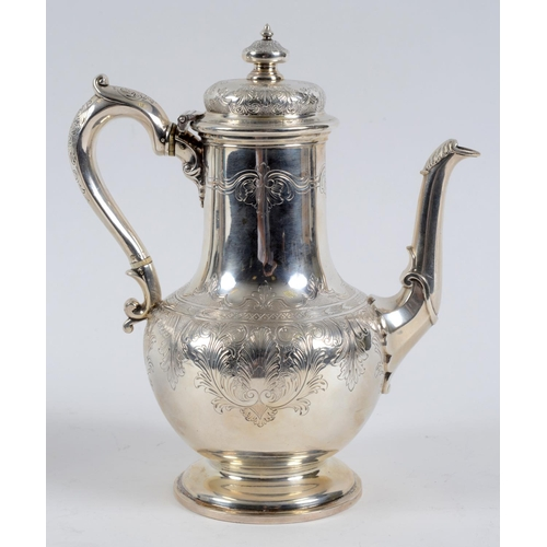 176 - A Victorian silver coffee pot, engraved flowers and foliage, London 1849, approx. 28.5 ozt, 25 cm hi...