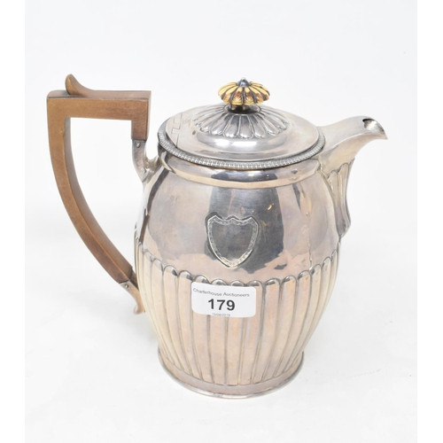 179 - An early 19th century silver water jug, with a reeded lower body, London 1809, approx. 20.5 ozt (all...