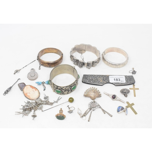 183 - A Charles Horner stick pin section, a silver coloured metal bangle, a silver teddy bear button hook,...