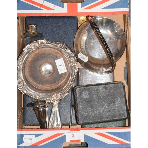 2 - A silver wine coaster, Sheffield 1963, assorted silver spoons, and other items...