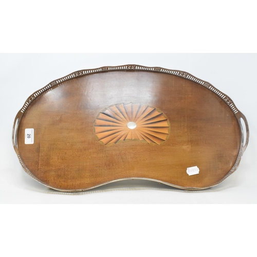 20 - An Edwardian kidney shaped tray, with a pierced plated border, and inlaid centre, 56 cm wide...