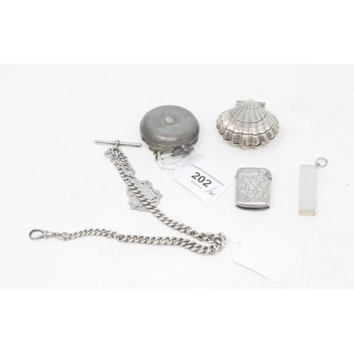 202 - A silver Albert, a silver vesta case, a pocket watch and other items...
