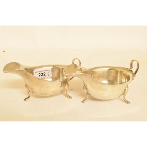 222 - A pair of 18th century style silver sauce boats, Sheffield 1966, approx. 6.5 ozt (2)...