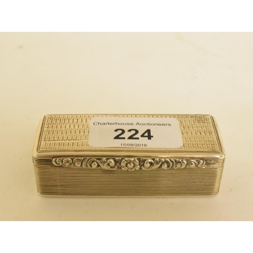 224 - A William IV silver snuff box, initialled, with engraved decoration, Birmingham 1836, approx. 2.5 oz...