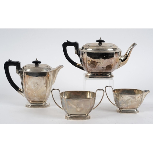 236 - A silver four piece tea service, initialled, Elkington Co, Birmingham 1913, 54.4 ozt (all in), the h...