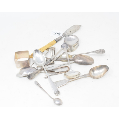 247 - Assorted silver cutlery, approx. 9.3 ozt (weighable silver)...