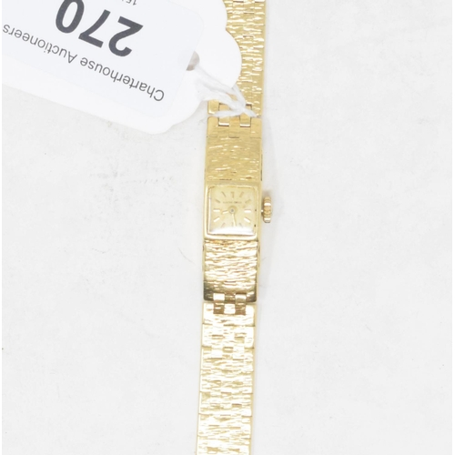 270 - A lady's 9ct gold Bueche Girod bracelet wristwatch, with baton indices, approx. 38.4 g...
