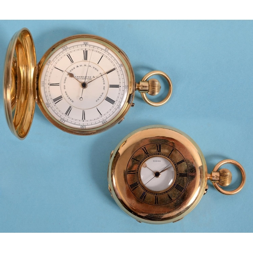274 - An 18ct gold hunter pocket watch, the enamel dial signed J Hargreaves & Co, Liverpool, Makers to the...