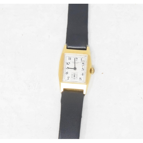 276 - A gentleman's 18ct gold Art Deco style wristwatch, with Arabic numerals and subsidiary seconds dial...