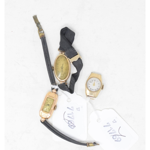 278 - A lady's 18ct gold wristwatch, and two other 9ct gold watches (3)...