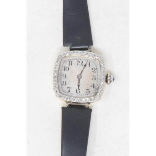 284 - A lady's 18ct gold and diamond cocktail wristwatch, with Arabic numerals...