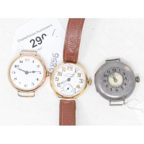 290 - A gentleman's 9ct gold wristwatch, and two other watches (3)...