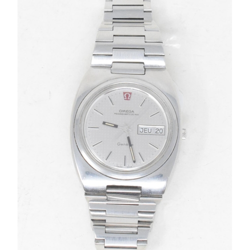 293 - A gentleman's stainless steel Omega Megaquartz 32 Khz wristwatch, with baton indices and centre seco...