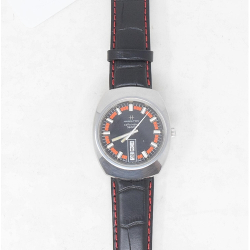 295 - A gentleman's stainless steel Hamilton self winding wristwatch, with baton indices and centre second...