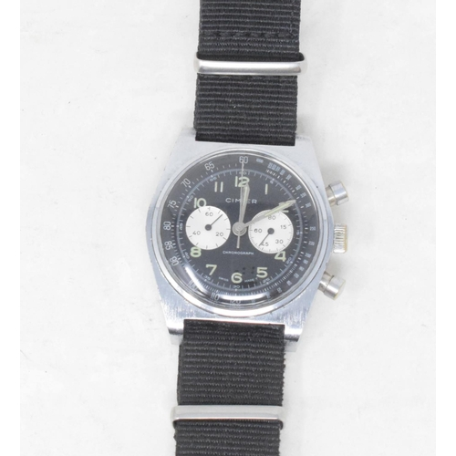 297 - A gentleman's stainless steel Cimier Chronograph wristwatch, with twin subsidiary dials and centre s...