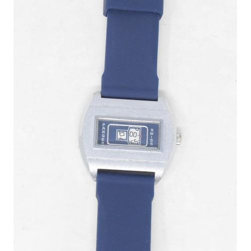 298 - A gentleman's Prager jump hour wristwatch, with a blue dial...