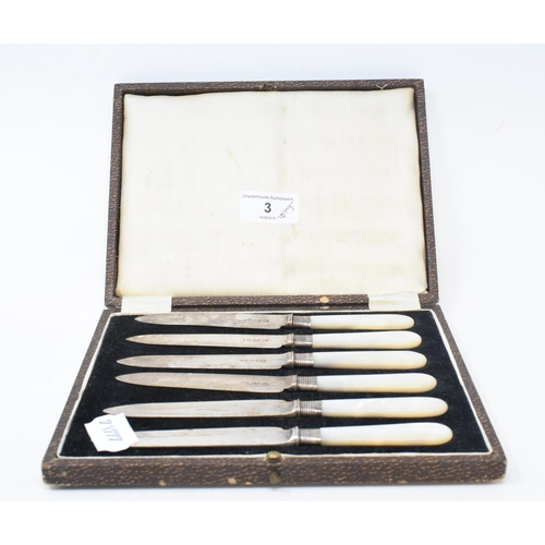 3 - A set of six silver and mother of pearl tea knives, Birmingham 1910, cased, other assorted cutlery, ...