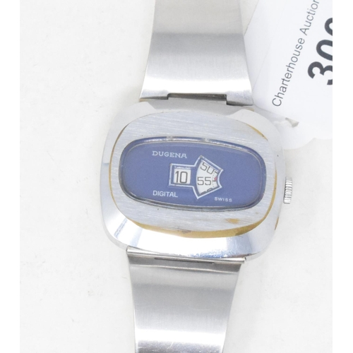 300 - A gentleman's stainless steel Dugena jump hour wristwatch, with a blue dial...