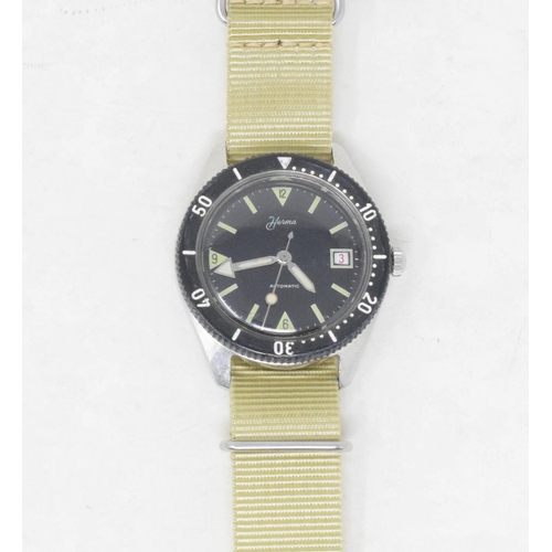 306 - A gentleman's stainless steel Herma automatic wristwatch, with a black dial...