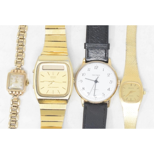 311 - A lady's 9ct gold wristwatch, a lady's Zenith wristwatch, boxed, and two gentleman's wristwatches (4...