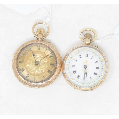 314 - A lady's **not 9ct** is 14ct gold open face fob watch, the enamel dial with Roman numerals, in an en...