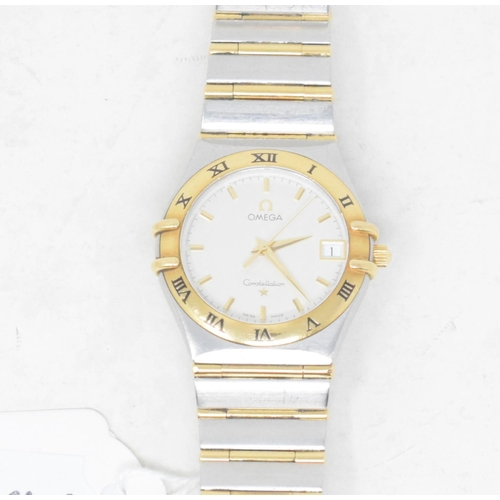 316 - A gentleman's gold and stainless steel Omega Constellation wristwatch, with centre seconds...