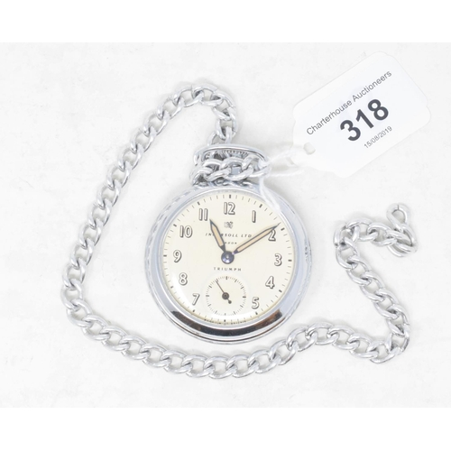 318 - An Ingersoll open face pocket watch, on a chain...