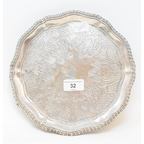 32 - A George III silver salver, crested, and with engraved decoration, London 1798, approx. 15.8 ozt, 23...