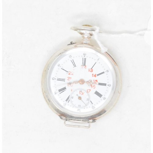 320 - A silver coloured metal open face pocket watch...