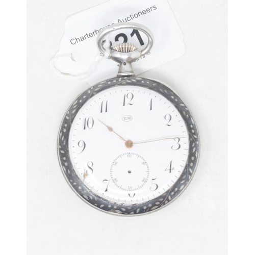 321 - A silver coloured metal open face pocket watch, with niello decoration...