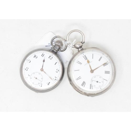 322 - A silver open face pocket watch, and another similar (2)...