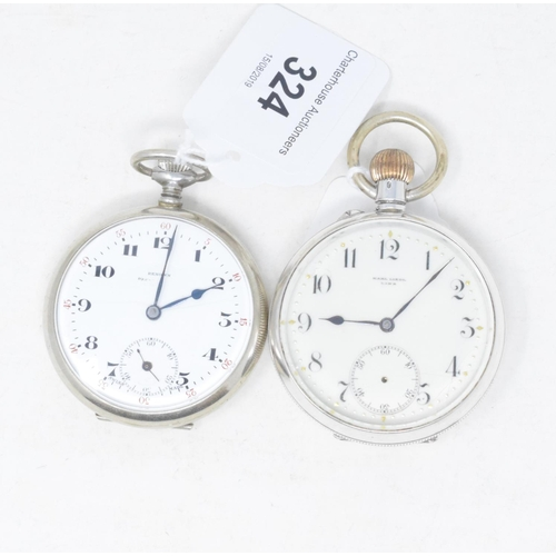 324 - A silver open face pocket watch, and another similar (2)...