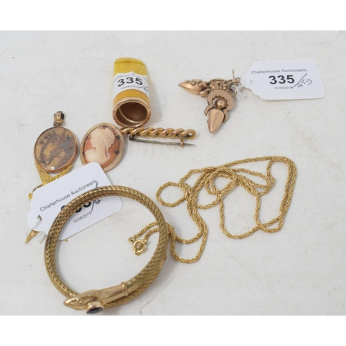 335 - **Revised estimate** A pair of Victorian earrings, a snake bangle, other jewellery, and a cheroot ho...