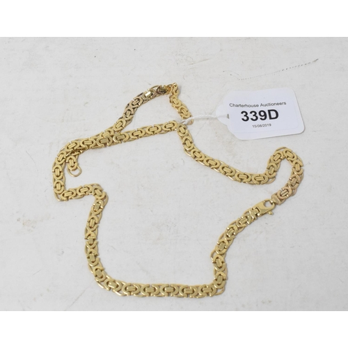339D - **Revised estimate**A 9ct gold link necklace, with additional links, approx. 29.6 g...