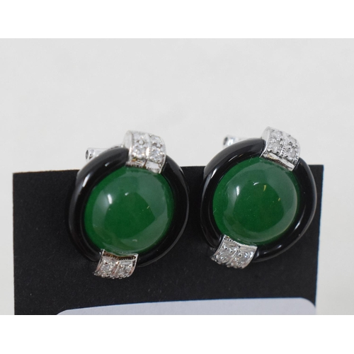 343 - A pair of 9ct gold, onyx, jade and diamond Art Deco syle earrings...