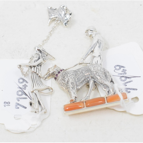 345 - A silver Art Deco style dog brooch, and another (2)...