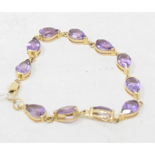 350 - A 9ct gold and amethyst link bracelet...