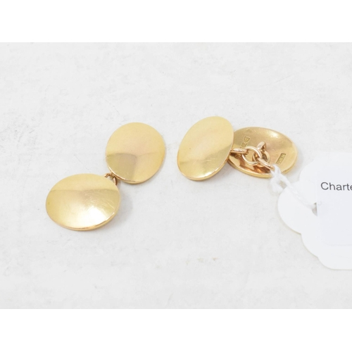 358 - A pair of 15ct gold oval cufflinks, approx. 13.7 g, in a case...