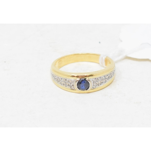 376 - A sapphire and diamond ring, in a yellow coloured metal mount, apparently unmarked, approx. ring siz...
