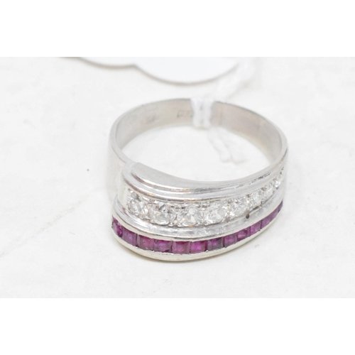 389 - A 1940's 18ct white gold, diamond and ruby ring, approx. ring size P...