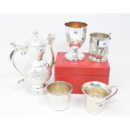 40 - An Elizabeth II silver commemorative Jubilee chalice, Sheffield 1977, cased, a silver coloured metal...
