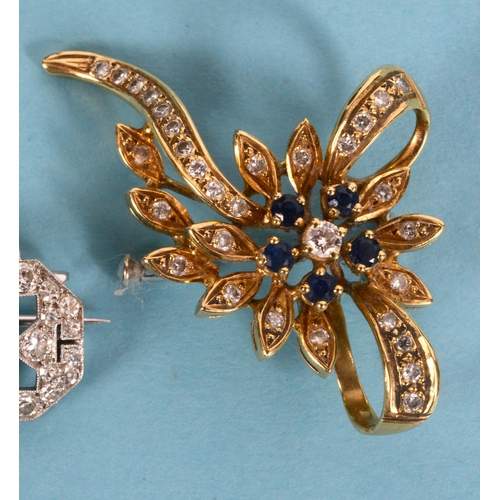 409 - An 18ct gold, diamond and sapphire flower brooch  See illustration...