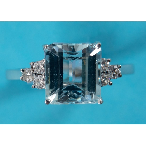 428 - An 18ct white gold, aquamarine and diamond ring, approx. ring size M See illustration...