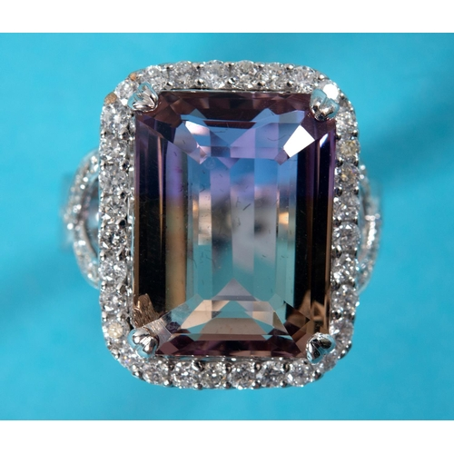 432 - An 18ct white gold, amerterine and diamond ring, approx. ring size N½...