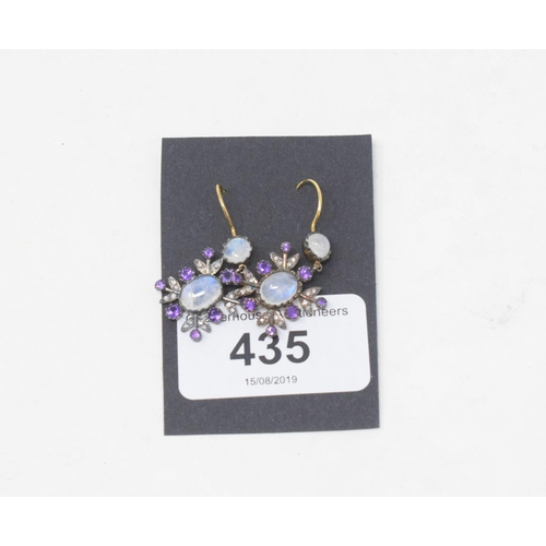 435 - A pair of 9ct gold, silver, moonstone, amethyst and diamond earrings...