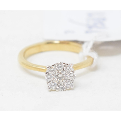 443 - A 9ct gold cluster diamond ring, approx. ring size L½...