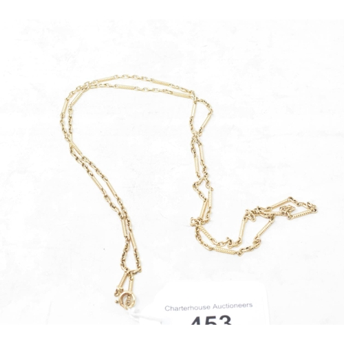 453 - A 9ct gold fancy link chain, approx. 12.3 g...