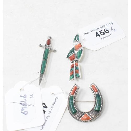 456 - Three silver and malachite Scottish style brooches...